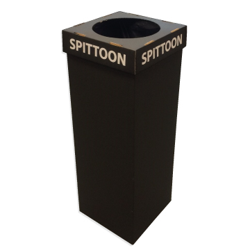 Disposable Floor Standing Spittoon in Black with Lid